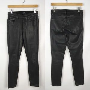 Paige | hoxton black coated skinny jeans